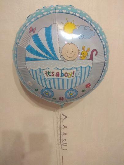 Колясочка мальчик шар фольгированный с гелием