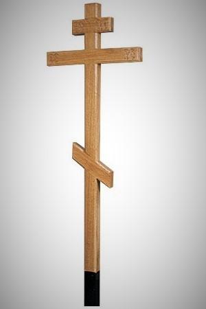 """Крест намогильный дубовый """"Прямой"""" светлый с надписью IНЦI / Вечная память"""