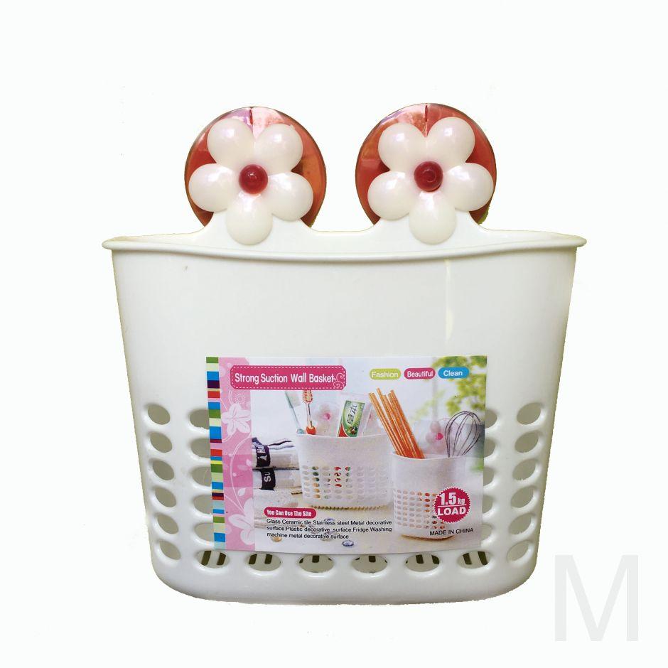 Органайзер для ванных принадлежностей на присосках, Strong Suction Wall Basket, 16х7х15см