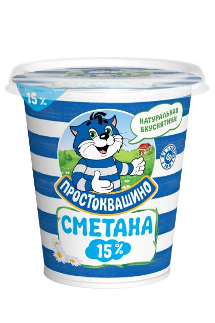 Сметана  Простоквашино  15% стакан 315гр