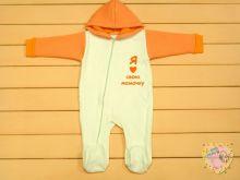 """Комбинезон для новорожденных с капюшоном на молнии A-KB0(k)71-TRn(m) (трехнитка с начесом) """"Мамин Малыш""""(код 01733, белый, я люблю свою мамочку)"""