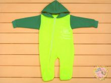 """Комбинезон для новорожденных с капюшоном на молнии A-KB0(k)71-TRn(m) (трехнитка с начесом) """"Мамин Малыш"""" (код 01733, зеленый, я папина гордость)"""