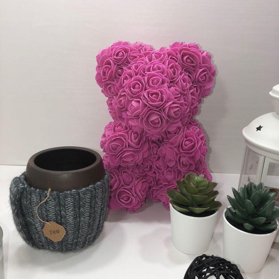 Насыщенный розовый  мишка 25см и глиняная кружка ручной работы
