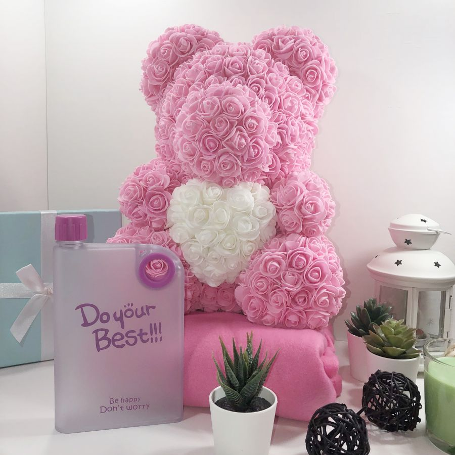 """Набор розовый медведь 40см и фляжка """"Блокнот"""""""