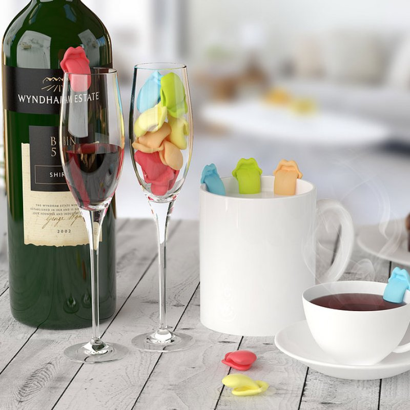 Набор из 6 маркеров для бокалов Drink Marker Party Tongue
