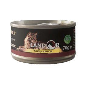 Ландор для взрослых кошек тунец с крабом 70г