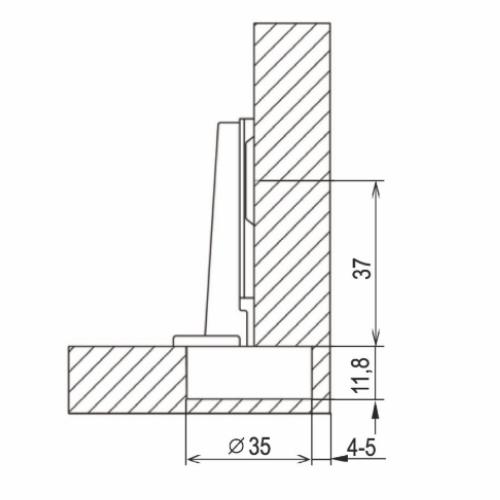 Петля мебельная накладная 52 гр., планка H-2 UP