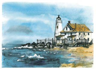 Почтовая открытка Маяк Cove Point, штат Мэрилэнд, США.