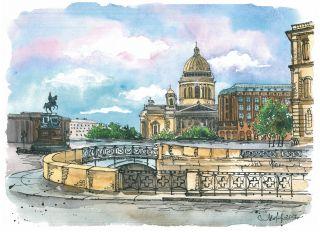 Почтовая открытка Утро в Санкт-Петербурге