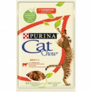 Cat Chow Влажный корм для кошек Говядина/ и баклажан в желе (пауч) 85 г