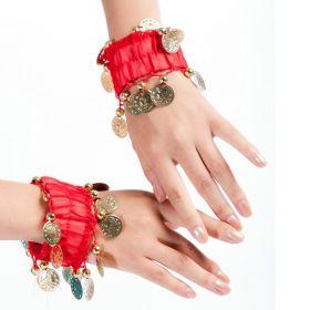 Карнавальный браслет для восточных танцев (набор 2 штуки) с монетами Красный