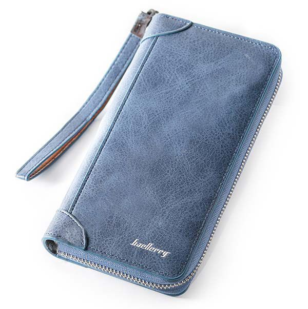 Мужское портмоне Baellerry замшевое, цвет синий