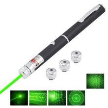 Указка лазерная зеленый свет 4 насадки