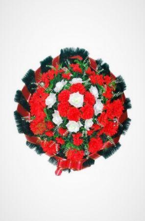 Фото Ритуальный венок Круг красный малый из роз, хризантем и гвоздик