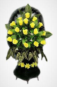 """Фото - Ритуальная корзина """"София №2"""" желтые розы и зелень"""