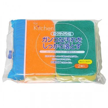 Японская губка для мытья посуды жесткая с двумя абразивными слоями Can Do, 2 шт