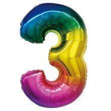"""Фигура """"3"""", 34""""/ 86 см, радуга"""