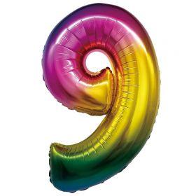"""Фигура """"9"""", 34""""/ 86 см, радуга"""
