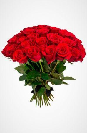 Фото Букет на похороны из живых цветов 30 красных роз