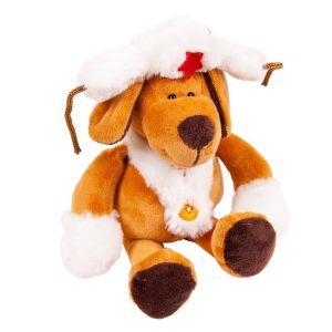 Мягкая игрушка Собака в белой ушанке (16 cм)