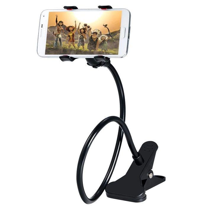 Гибкий держатель-прищепка для телефонов и мини планшетов, Чёрный