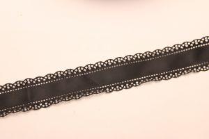 """`Лента атласная """"вырубка"""", ширина 30 мм , цвет: черный"""