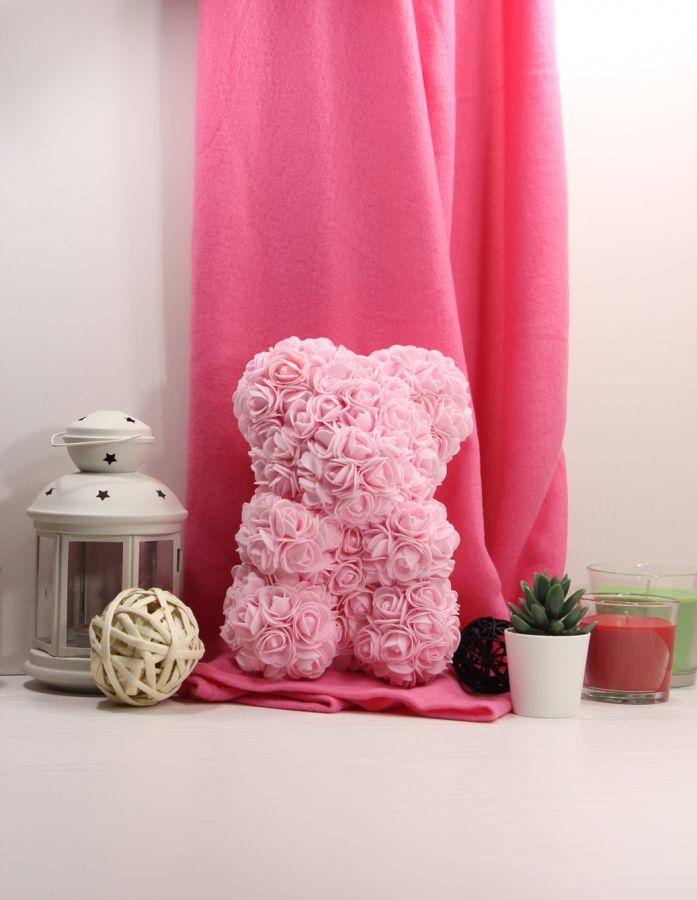 Мишка из роз 25см Розовый зефир