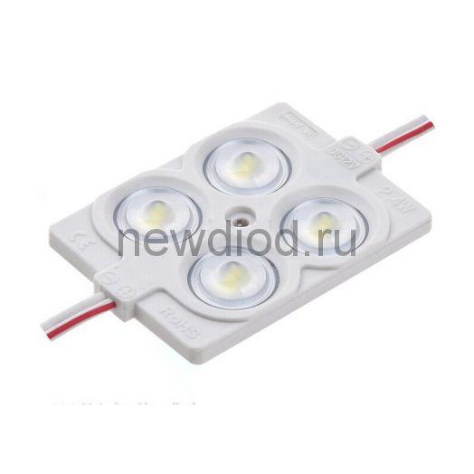 Светодиодный модуль с линзой PREMIUM SMD 2835/4LED 36х36х6мм 2W 200Lm IP65 160°  (пласт. корпус) (белый холодный)