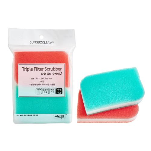 Скруббер-мочалка для мытья посуды набор ( 11,5 х 7,5 х 2,5) TRIPLE MULTI SCRUBBER 2PC  2шт