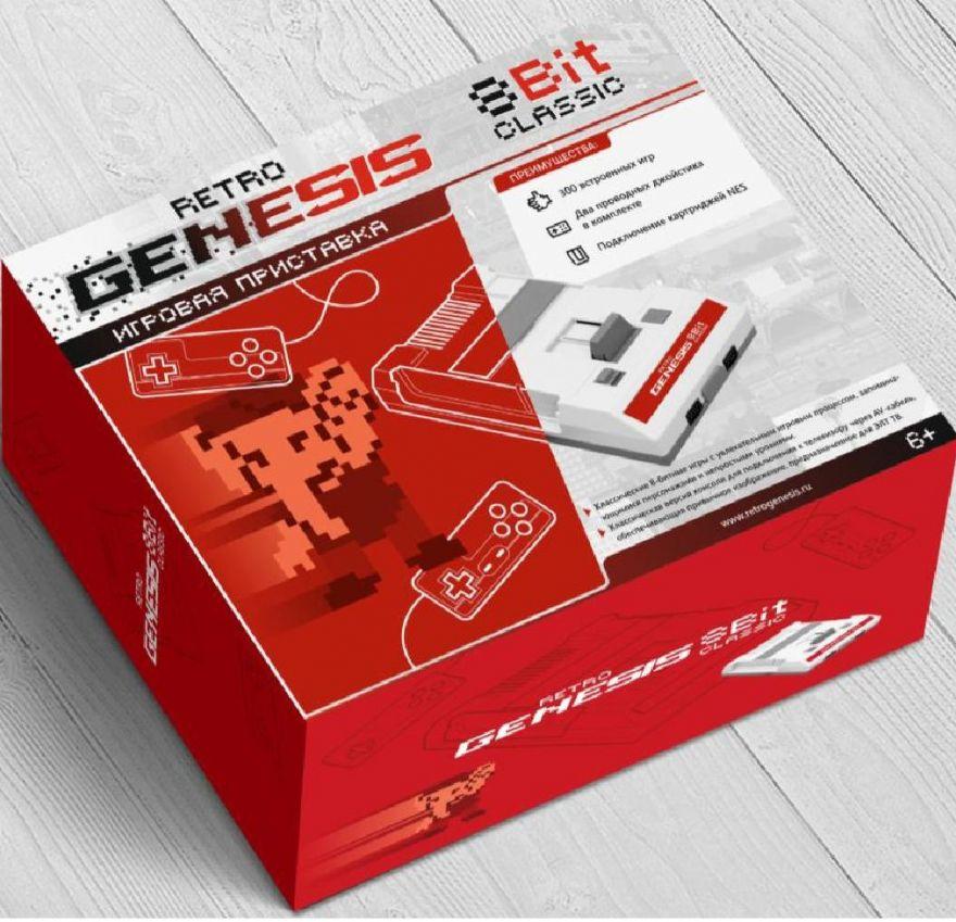 Игровая Приставка Retro Genesis 8 Bit Classic + 300 игр (AV кабель, 2 проводных джойстика)
