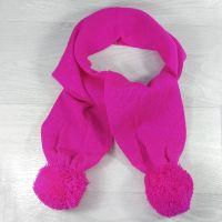 ш1001-69 Шарф с двумя помпонами ярко-розовый
