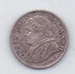 5 сольди 1867 года AUNC Ватикан Италия
