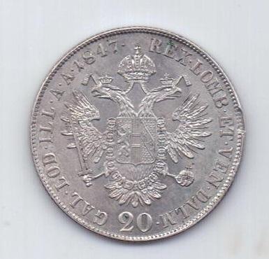 20 крейцеров 1847 года UNC Прага Чехия Австрия