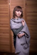 Сияющий серебряный широкий палантин (большой шарф), РЭРРИК  RERRICK METALIC SHIMMER  тонкорунная овечья шерсть , плотность 4