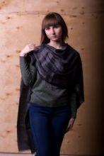 легкий тонкорунный палантин (широкий шарф) Деним Текстче грей DENIM TEXTURE GREY , 55% шерсть мериноса, 18% овечья шерсть 16% шёлк, 11% лён, плотность 2