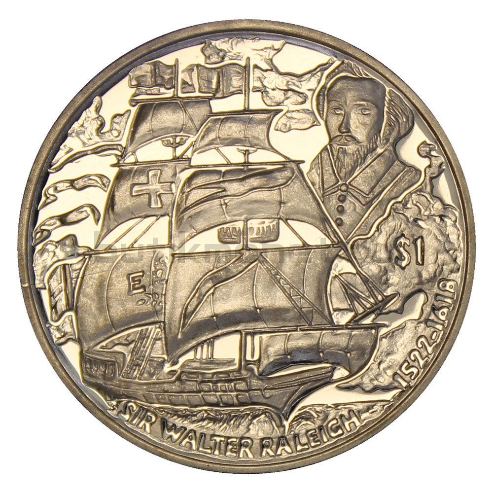 1 доллар 2018 Виргинские острова 400 лет со дня смерти Уолтера Рэли