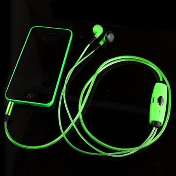 Светящиеся наушники с EL-проводом, зеленый