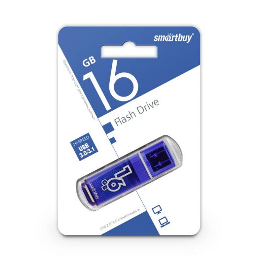 USB накопитель  3.0 Smartbuy 16GB Glossy series Dark Blue