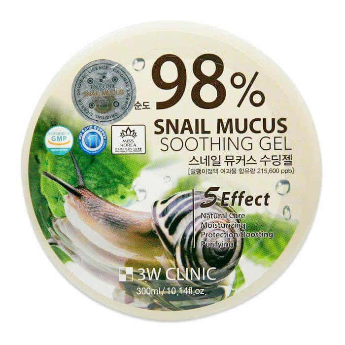3W CLINIC Гель универсальный УЛИТОЧНЫЙ МУЦИН Snail Soothing Gel 98%, 300 мл