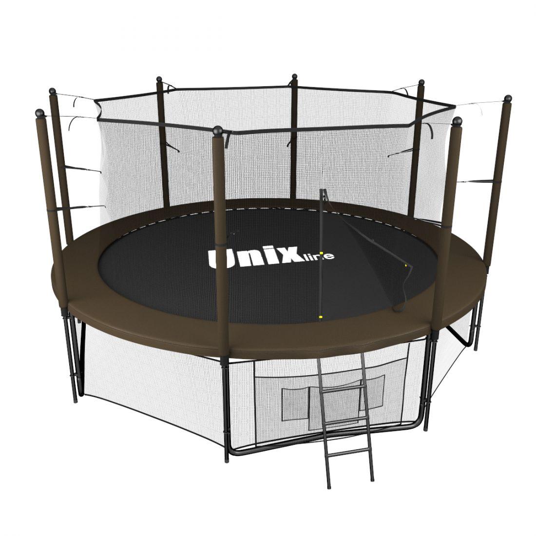 Батут UNIX line 12 ft (3.66 м, до 160 кг) Black&Brown (inside)