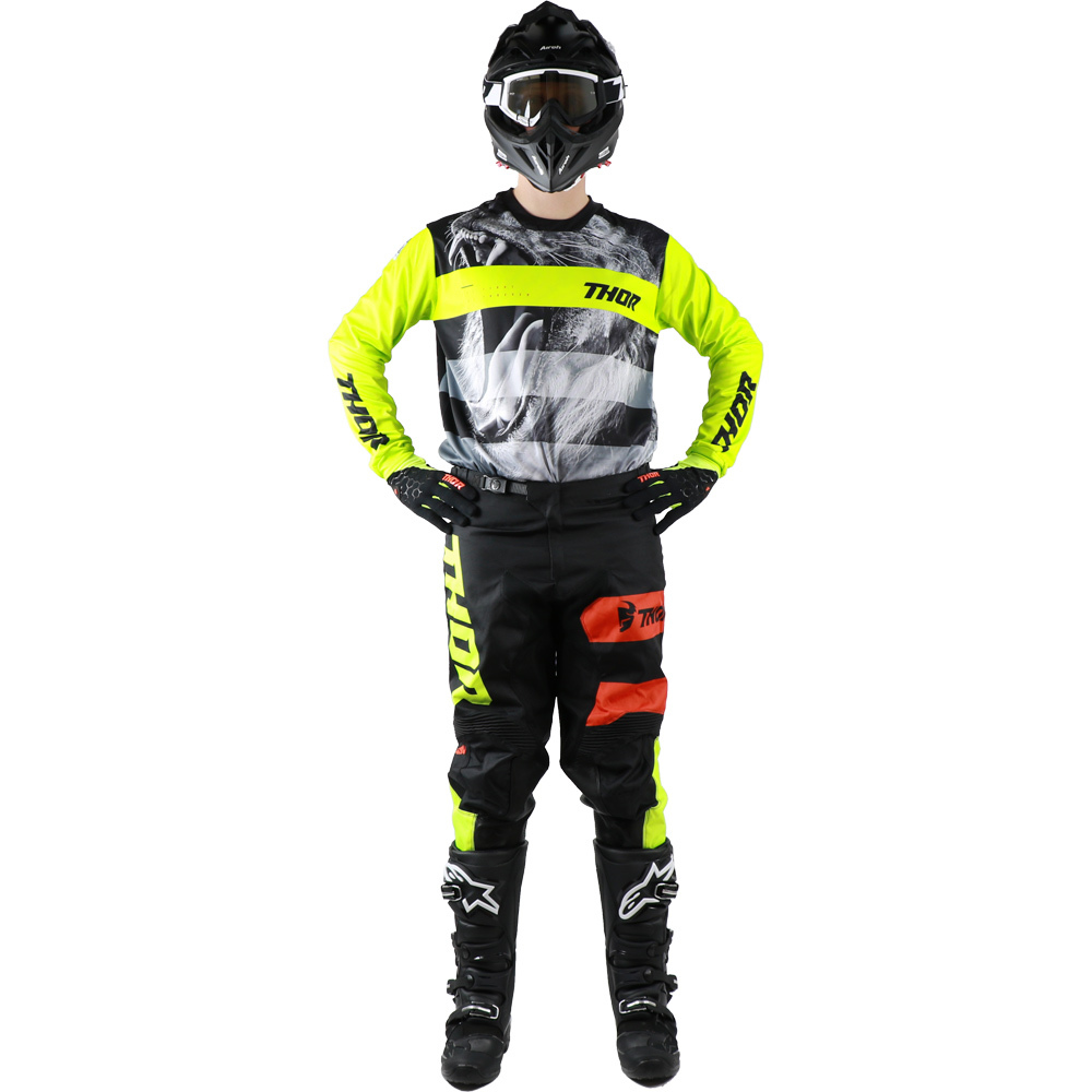 Thor - 2019 Pulse Savage Big Kat Black/Lime комплект джерси и штаны, черно-желтый