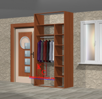 Встроенный шкаф купе с двумя боковыми стенками от пола до потолка