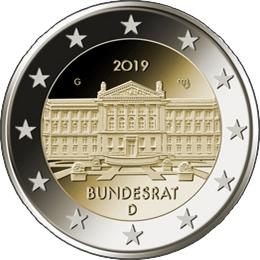 Бундесрат 2 евро Германия 2019 Монетный двор на выбор