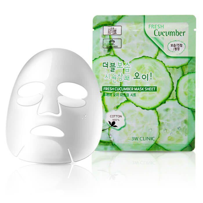 "[3W CLINIC] Тканевая маска для лица ОГУРЕЦ ""Fresh Cucumber Mask Sheet"""