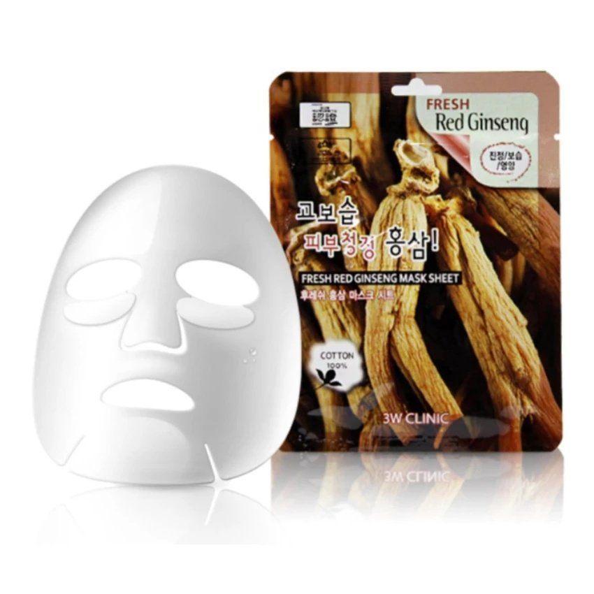 "[3W CLINIC] Тканевая маска для лица КРАСНЫЙ ЖЕНЬШЕНЬ ""Fresh Red Ginseng Mask Sheet"""