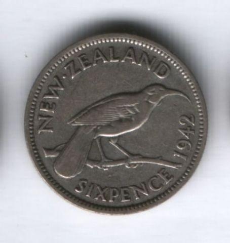 6 пенсов 1942 года Новая Зеландия, редкий год