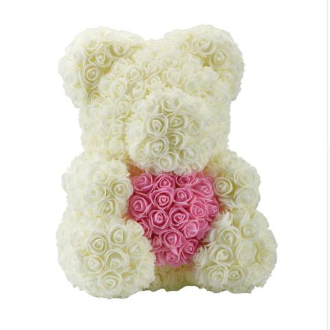 Мишка из роз 40 см с сердцем Белый