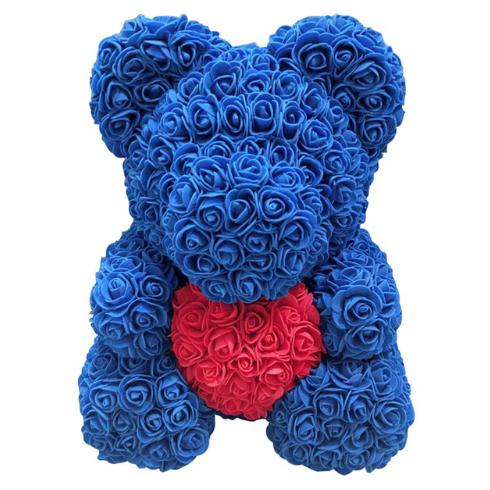 Мишка из роз 40 см с сердцем Синий