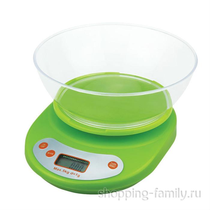 Электронные кухонные весы с чашей, 5 кг, цвет зеленый