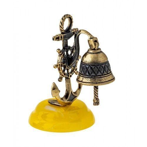 Рында с якорем - фигурка из бронзы с камнем янтарь